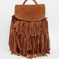 Maison Scotch Leather Tassel Backpack
