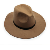 Khaki Belt Band Felt Fedora Hat
