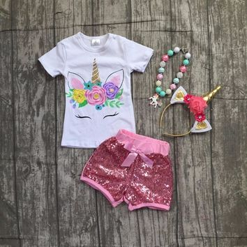 baby girls summer boutique clothing girls unicorn top with pink sequin shorts outfits girls unicorn clothes with accessories