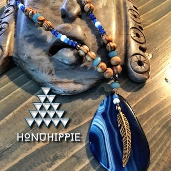 Native american hippie necklace, boho chic jewelry