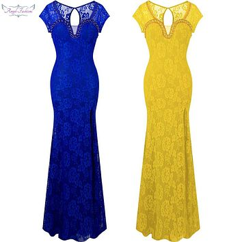 Angel-fashions Cap Sleeves Lace Split Beading Long Evening Dress Party Gown vestido de festa  Blue Yellow 299