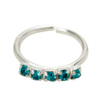 18G Sterling Silver Turquoise CZ Nose Hoop