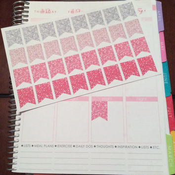 Pink Glitter Edition Life Planner Sticker Flags- 32 count