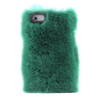 Bestgoods — Unique Green Soft Fur Hard Cover Protective Case For Iphone 4/4s/5
