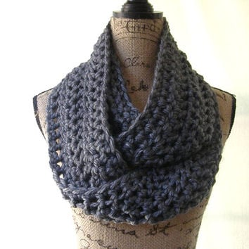 Ready To Ship Dark Grey Gray Charcoal  Chunky Scarf Fall Winter Women's Accessory Infinity 110