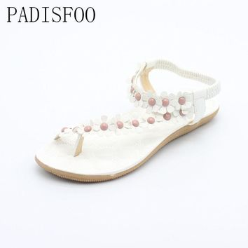 [C] [H]2017 New Summer Bohemian Sandals Shoes Flexible Flat Shoes With Sunflower Flat