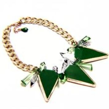 Triangle Lucite Spike Chain Statement Necklace