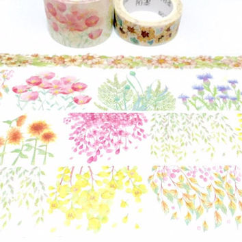 spring flower washi masking tape 7m x 3cm four seasons garden flower wide tape gardening sticker tape garden planner flower scenery decor