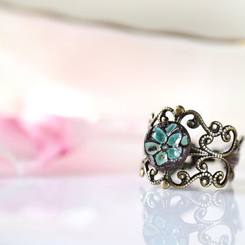 Turquoise flower ring Ceramic ring Turquoise band ring Adjustable ring Victorian style ring Vintage style ring Romantic ring Clay ring blue