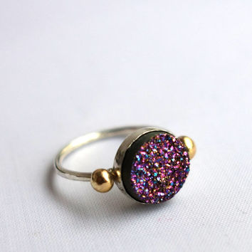 Peacock Purple Druzy Ring with 14k Gold Pebbles