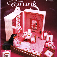 Barbie Doll Plastic Canvas Travel Trunk & Accessories Pattern Book by Annie's Attic 1992 Fashion Doll Furniture Making Instuctions Supplies