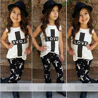 2Pcs Summer Baby LOVE Outfits Girl Set Kids Clothes