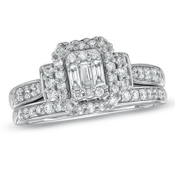 3/4 CT. T.W. Composite Emerald-Cut Diamond Bridal Engagement Ring Set in 14K White Gold