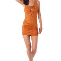 Camel Peach Skin Dress with Tie Front