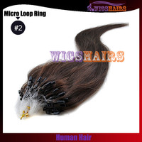 #2 Light Dark Brown Straight Micro Loop Ring Human Hair Extensions