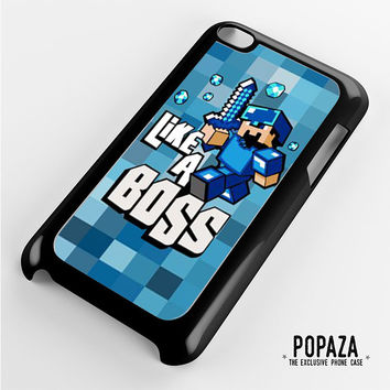 Minecraft Like A Boss Blue iPod Touch 4 Case