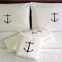Luxury 3pcs Nautical King/queen size BEDDROOM SET, Ancor embroidery,summer sheets,Percale cotton 100%