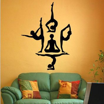 Yoga Poses Wall Stickers Muraux Om Meditation Indian Spiritual Mural Art Vinyl Decals PVC Removable Poster Home Decor Wallpaper
