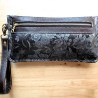 Leather clutch, wristlet wallet, bag, iPhone case, travel pouch, makeup bag