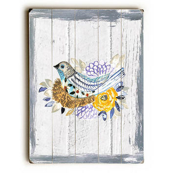 Painted Rustic Bird by Artist Jennifer Rizzo Wood Sign