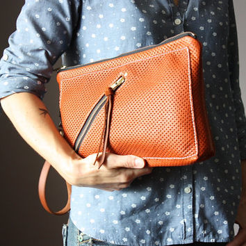 Zipper leather clutch, rust leather purse, brown leather clutch, zipper clutch / purse, wrist strap, multi pockets clutch