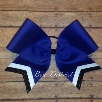 "3"" Royal Blue Team Cheer Bow with White and Black Glitter Tail Stripes"