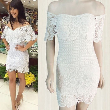 Summer Style Casual White Lace Women Summer Dress Off The Shoulder Mini Dress Vestidos Casual Vestidos Femininos = 5613062849