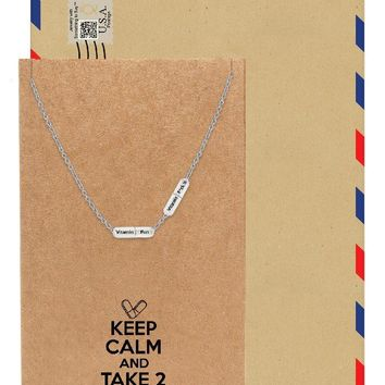 Daphne 2 Mini Pills Necklace, Jewelry for Women, Perfect Gift with Greeting Card
