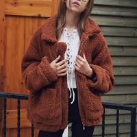 Relaxed Fleece Cardigan (Brown)