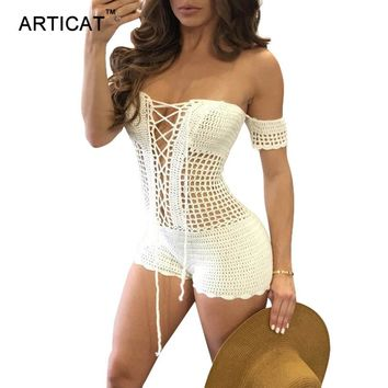 Articat Lace Up Crochet Knitted Playsuit Women Rompers Sexy Off Shoulder Backless Bodysuit Jumpsuit Hollow Out Beach Overalls