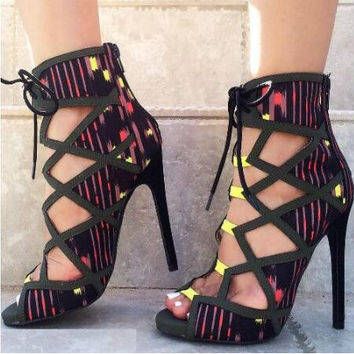 Tribal Printed Cut Out Single Sole Heels Lace Up
