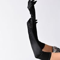 Black Satin 23'' Opera Length Gloves