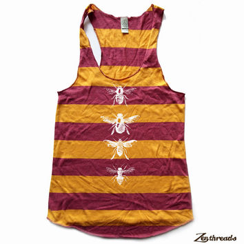 Womens BEES - Alternative Apparel Rugby stripe Racerback Tank Top S M L XL (2 Color Options)