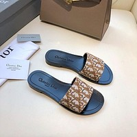 Dior LOGO Letter Sandals Flat-soled Slippers
