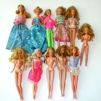 Vintage Barbie Dolls and Skipper, Lot of 11, Barbies, Skipper, All Marked Mattel, Fair Condition, Some Barbie Clothes, Fashion Dolls, Parts