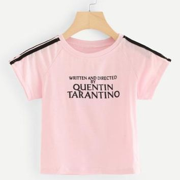 Written and directed by Quentin Tarantino crop tshirt top