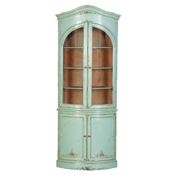 Etienne French Glazed Corner Cupboard | Turquoise Corner Cupboard | French Furniture | Corner Cabinet