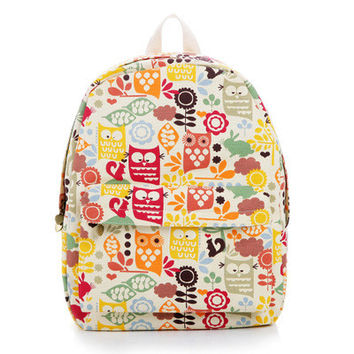 Striped Floral Stripes Cute Lovely Animal Canvas Korean Backpack = 4888012484