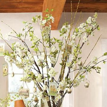 Faux White Cherry Blossom Branch | Pottery Barn