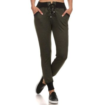 Hunter Green Lace-Up Front Joggers