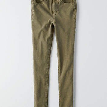 AEO Denim X4 Super Hi-Rise Jegging, Olive