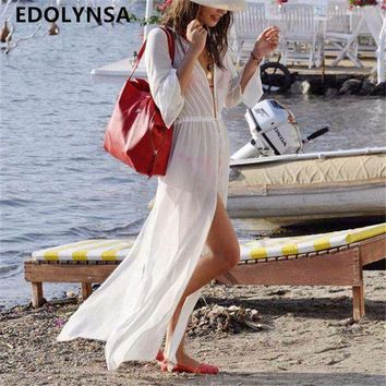 PEAPGC3 New Arrivals Beach Cover up White Chiffon Translucent Swimwear Ladies Beach Cape Sun Bath Sexy Beach Tunic Praia Beach Wear #Q9