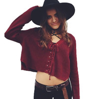 Women Short Sweater 2016 Autumn Lace Up V-neck Pullovers Loose Knitted Sweater Tops Long Sleeve Pullover Sweaters All Size Fit