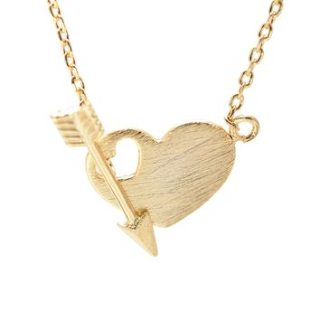 Handcrafted Brushed Metal Heart with Arrow Necklace
