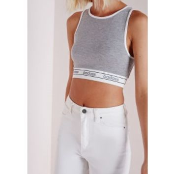 Badass Crop Top Grey - Crop - Tops - Missguided
