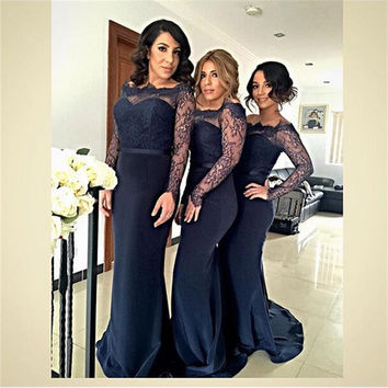 2017 Sheer Long Sleeve Mermaid Bridesmaid Dresses Navy Blue Satin Lace Junior Wedding Party Dress Cheap Maid of Honor Gown BN92