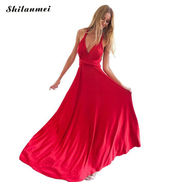 Summer Sexy Dress Women Red Beach Long Bandage Multiway Convertible Dresses Infinity Wrap Robe Maxi Dress Wrap Vestidos