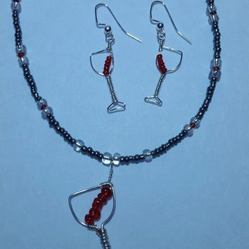 Red wine glass earrings and necklace set., wire wrapped, silver artistic wire, handcrafted