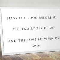 Bless the food before us Printable Wall Art christian religious wall home decor poster print INSTANT DOWNLOAD Active