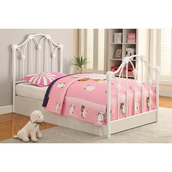 Traditional Styled Metal Twin Size Bed, White